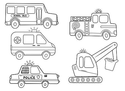 Funny coloring kids transport set. School bus, ambulance, excavator, fire engine, police car cartoon black and white vector illustration isolated on white background