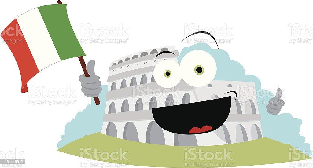 Funny Colosseum Holding an Italian Flag vector art illustration