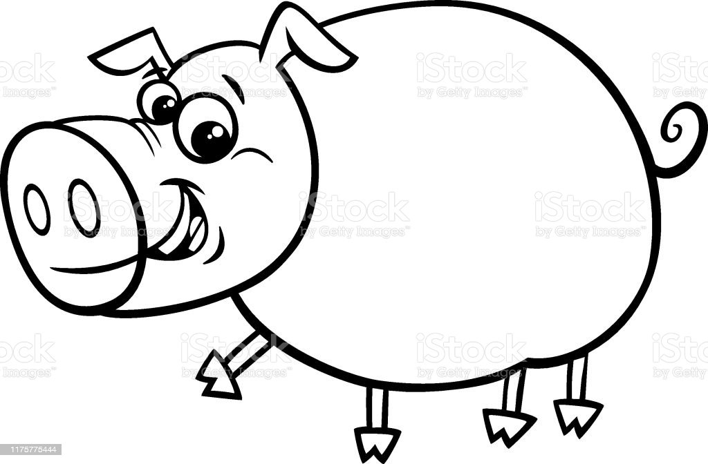 - Funny Comic Pig Cartoon Character Color Book Stock Illustration - Download  Image Now - IStock