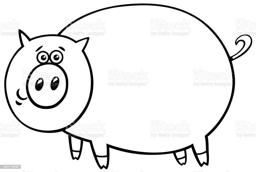 Funny Comic Pig Cartoon Character Color Book Stock Vector Art & More ...