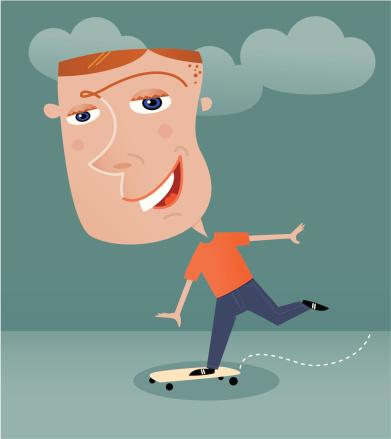 Funny comic style skateboarder illustration