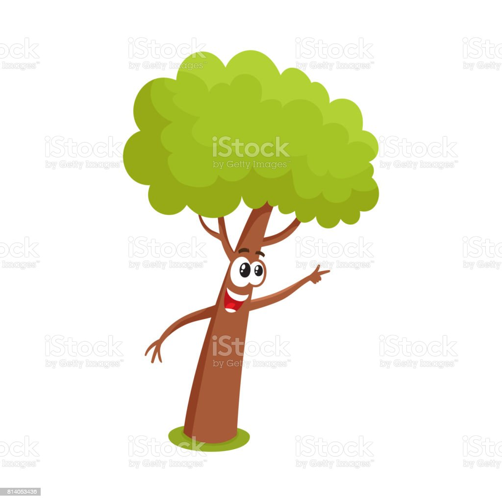 funny comic tree character showing pointing to something with finger rh istockphoto com Bird Nest Silhouette Clip Art Christmas Animal Clip Art