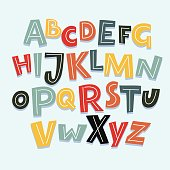 Vector funny comics font. Hand drawn capital colorful cartoon English alphabet with capital letters