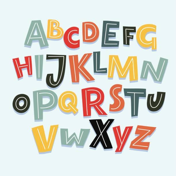 Funny Comics Font. Vector Cartoon Alphabet with All Letters and Numbers Vector funny comics font. Hand drawn capital colorful cartoon English alphabet with capital letters alphabet patterns stock illustrations