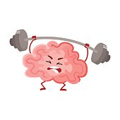 Funny concentration brain training with a barbell