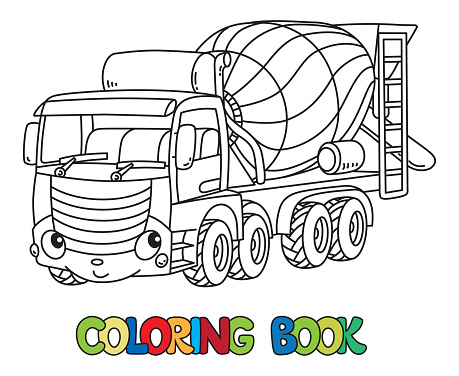 Funny Concrete Mixer Truck With Eyes Coloring Book Stock