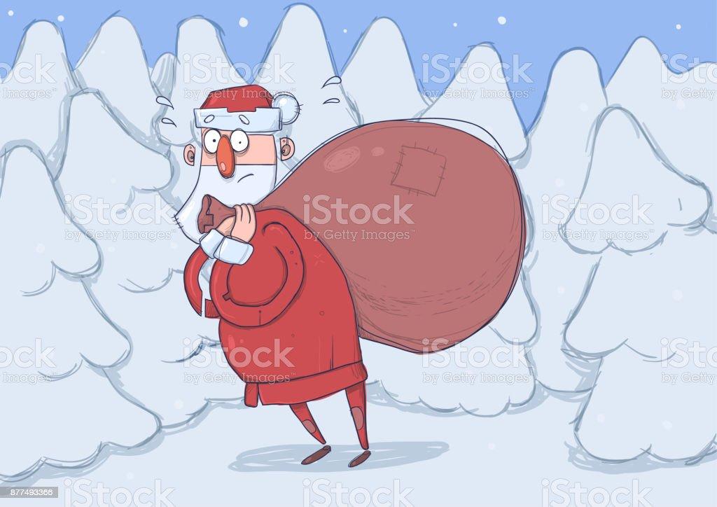 ilustração de engraçado confuso papai noel com saco grande de