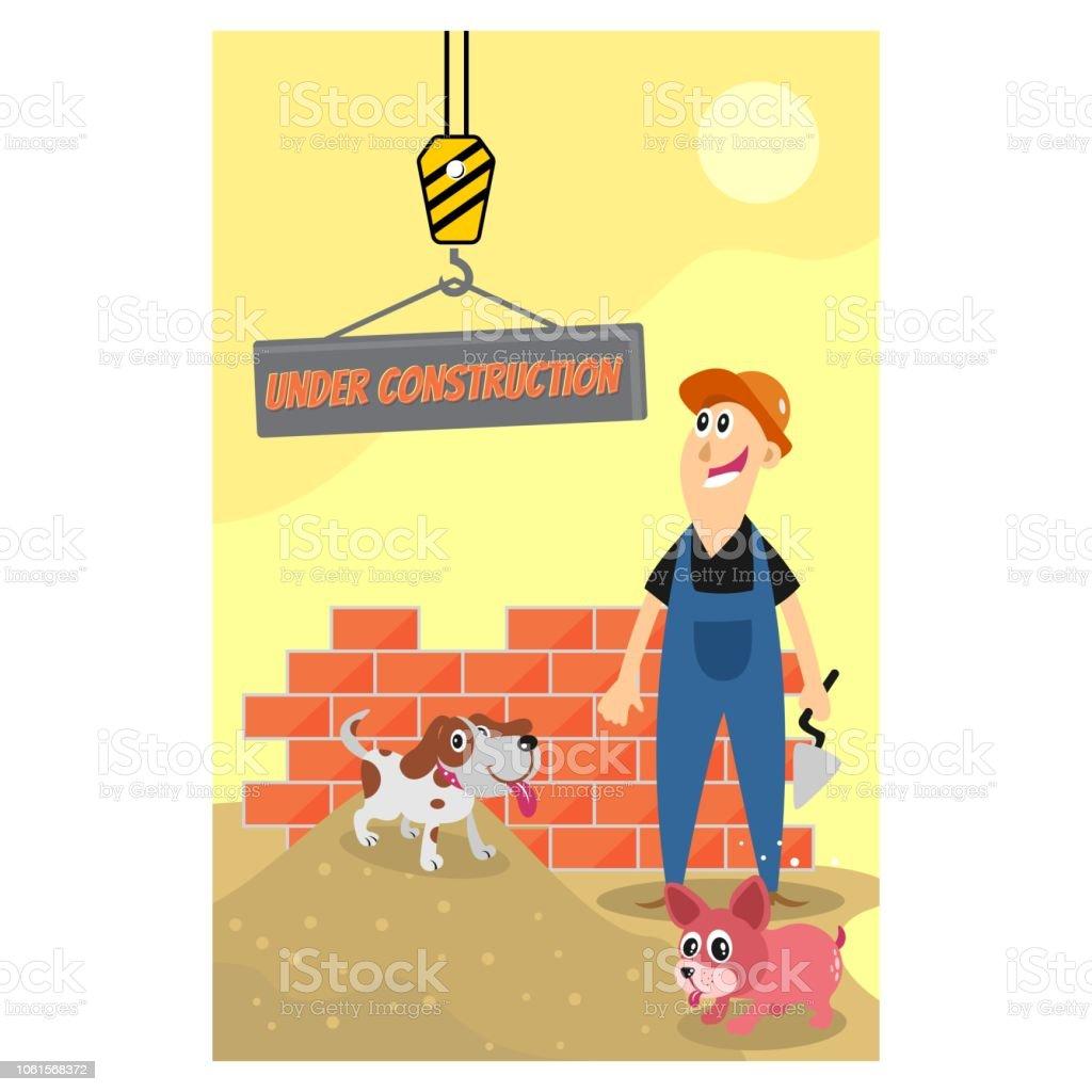 Lustige Bauarbeiter Auf Der Baustelle Mit Seinem Hund