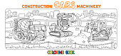 Funny constuction cars and truck Coloring book set