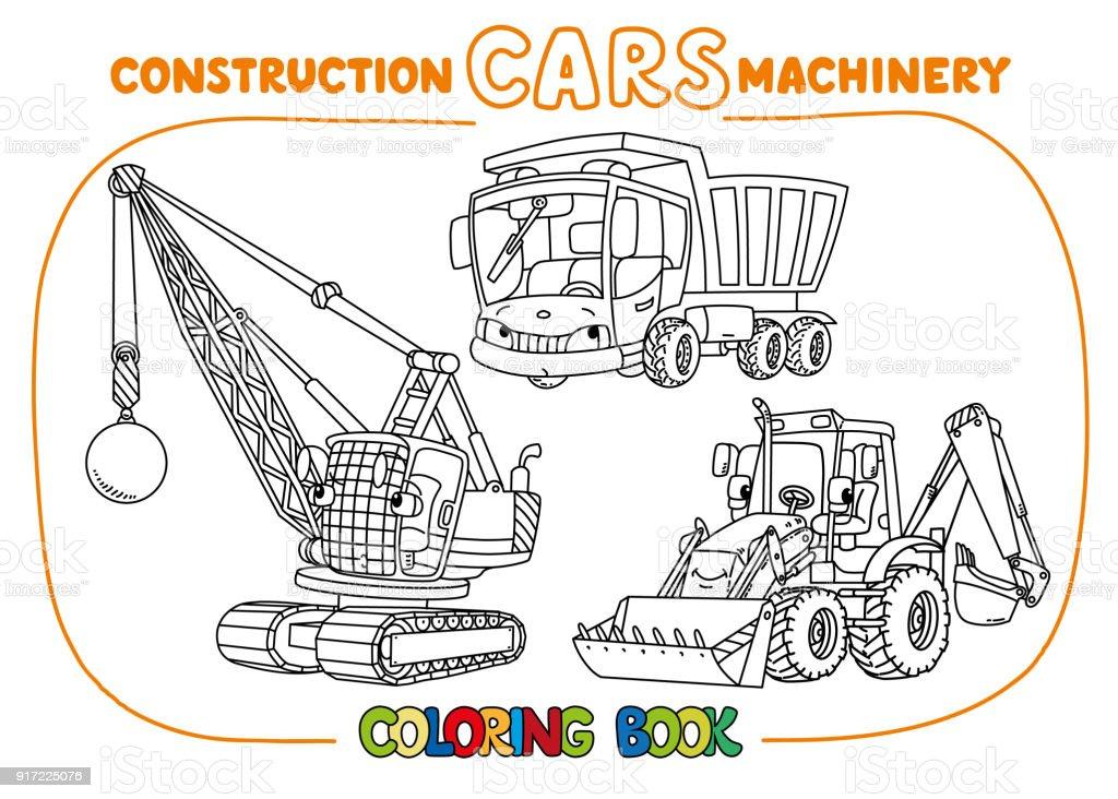 Komik Inşaat Arabaları Ayarla Boyama Kitabı Stok Vektör Sanatı
