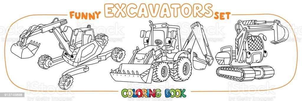 Komik Inşaat Tarak Seti Boyama Kitabı Stok Vektör Sanatı Animasyon