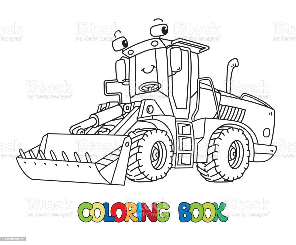 Ilustración De Tractor De Construcción Divertido Con Los