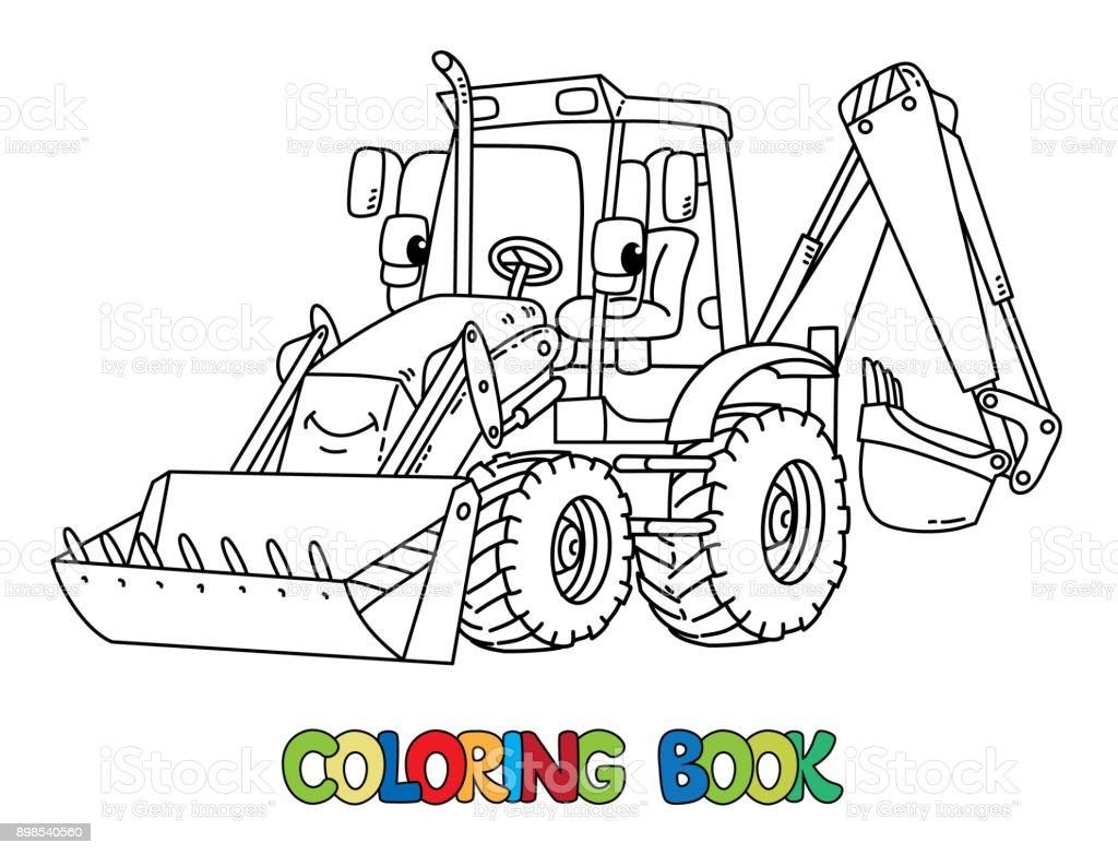 Komik Inşaat Traktör Gözleri Olan Boyama Kitabı Stok Vektör Sanatı