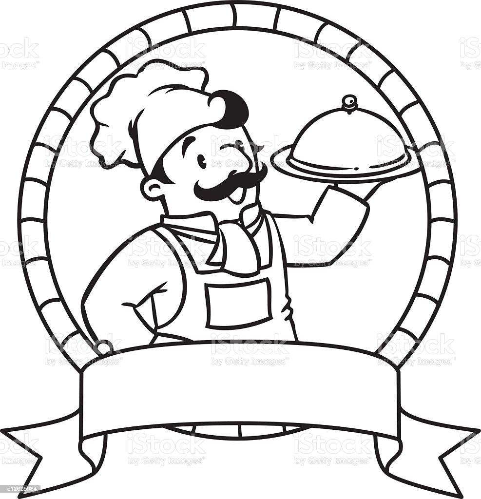 Divertido Cocinar O Chef Libro Para Colorear Escudo - Arte vectorial ...