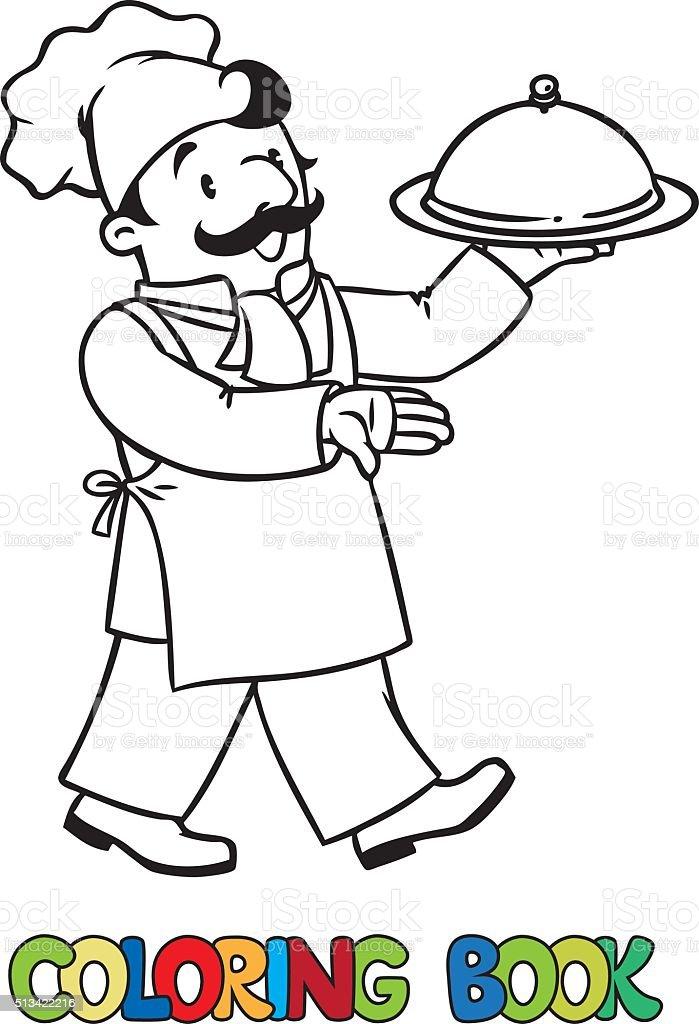 Cuoco O Chef Divertente Con Vassoio Libro Da Colorare Immagini