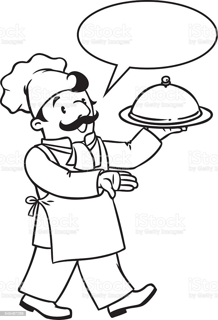 Ilustración de Divertido Cocinar O Chef Con Bandeja Libro Para ...