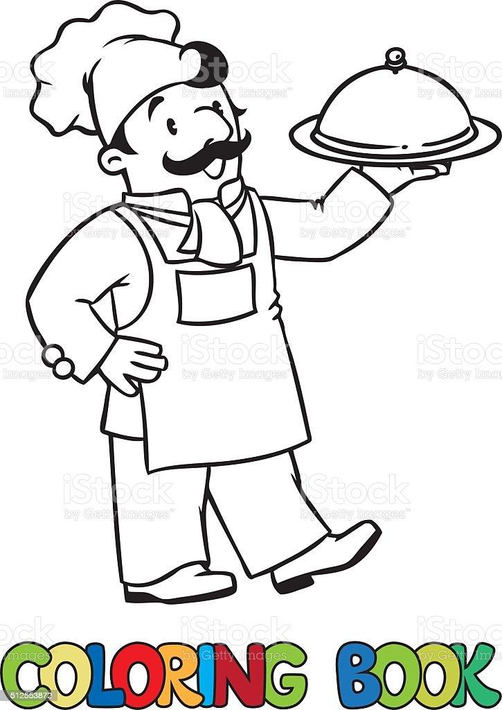 Ilustración de Divertido Cocinar O Jefe Con Bandeja Libro Para ...