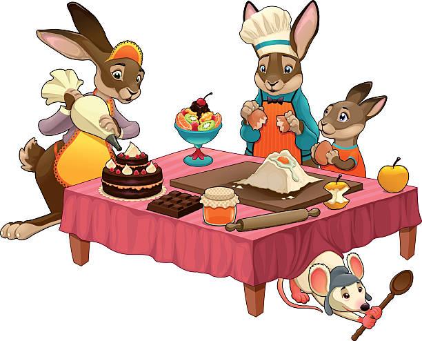 ilustrações, clipart, desenhos animados e ícones de engraçado culinária cena com coelhos fazer doces - fruit salad