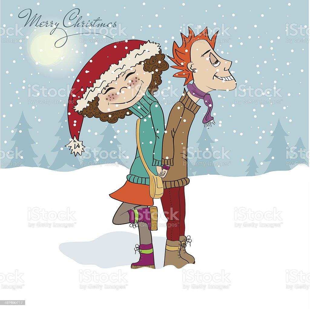 面白いカップルの冬 のイラスト素材 457690717 | istock