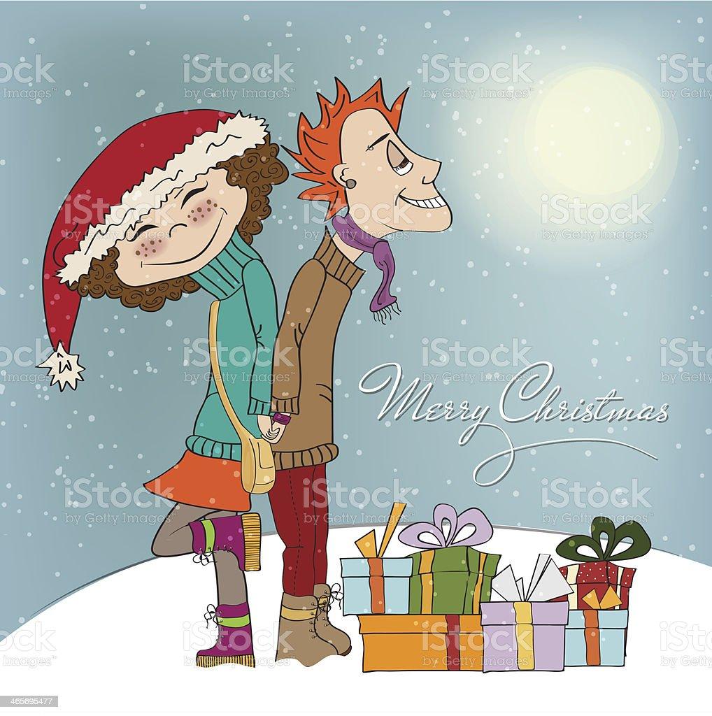 面白いカップルの冬 - イラストレーションのベクターアート素材や画像を