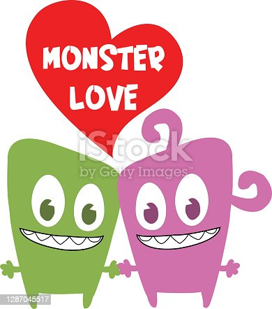 istock Funny Couple Monster Love 1287045517