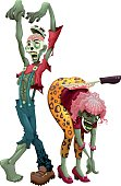Funny couple of zombies. Cartoon vector isolated characters