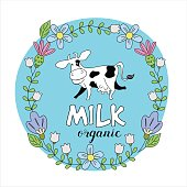 Funny cow in a frame of wildflowers. Vector illustration. Milk and milk products logo.