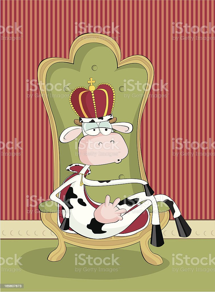 Funny cow in crown on a throne royalty-free funny cow in crown on a throne stock vector art & more images of animal