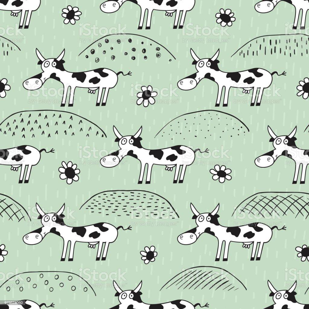 Ilustración De Vaca Divertida De Patrones Sin Fisuras Fondo Para
