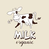 Funny cow. Vector illustration. Milk and milk products emblem.