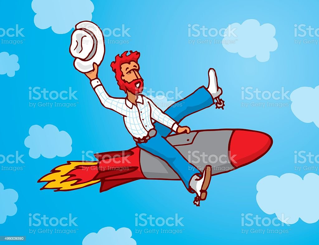 Funny cowboy riding missile as rodeo vector art illustration