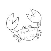 Funny Crab Cartoon Mascot Character. Coloring book page. Outlined vector hand drawn eps 10 illustration isolated on white background in a flat style.