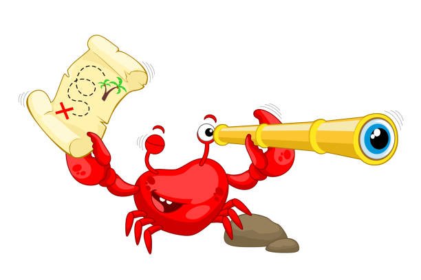 funny crab with a treasure map and a telescope. red crab is looking for treasure. vector illustration - crab on white background - treasure map backgrounds stock illustrations