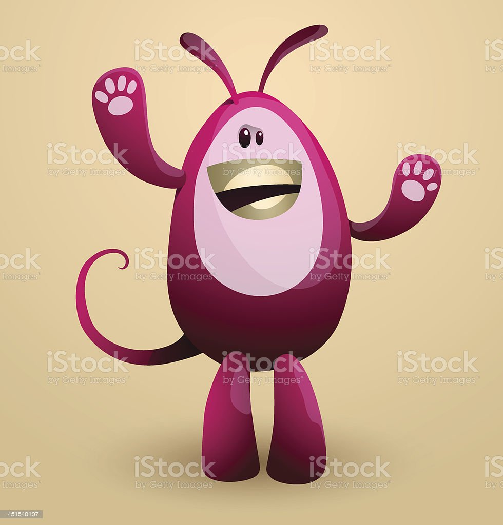Funny crimson egg monster royalty-free stock vector art