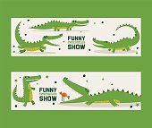Funny crocodiles show set of banners vector illustration. Bird standing in mouth of alligator. Animal in different poses and activities, sitting, running and lying, showing tricks. Wildlife.