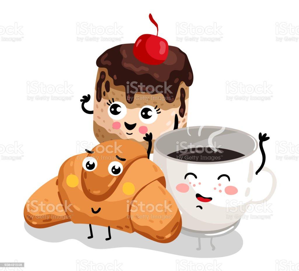 Lustige Croissant Kuchen Und Kaffeeobertasse Charakter Stock Vektor