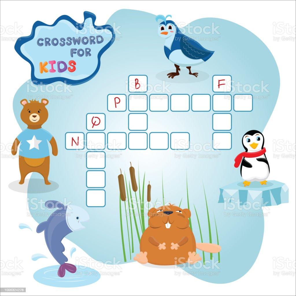 Lustige Kreuzworträtsel Spiel Mit Niedlichen Cartoon Fisch Bär ...