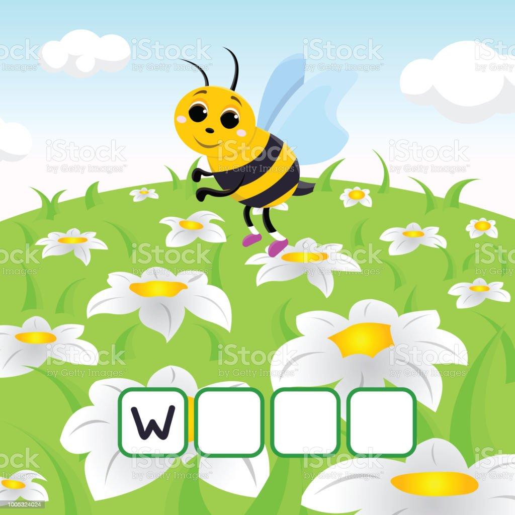 Lustige Kreuzworträtsel Spiel Mit Niedlichen Cartoon Blume Wespe ...