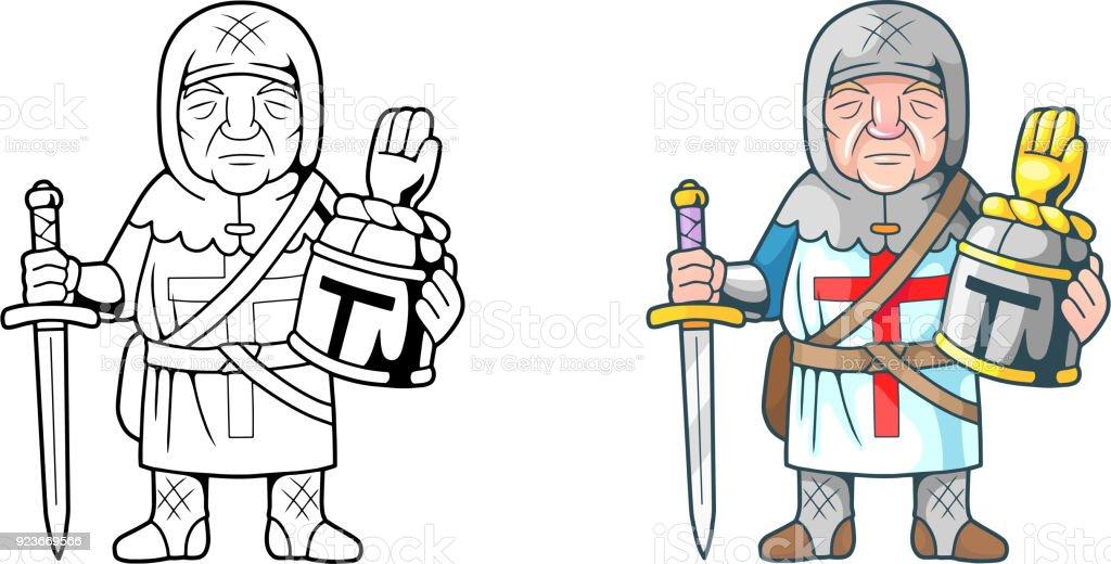 Komik Haçlı Boyama Kitabı Stok Vektör Sanatı Askeri Kasknin Daha