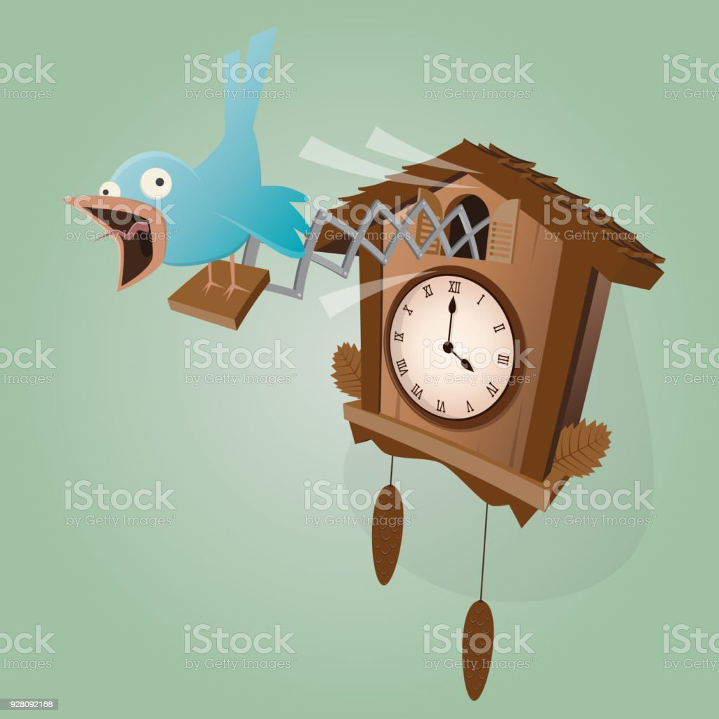funny cuckoo clock illustration vector art illustration