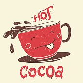 Funny cup of cocoa cartoon character