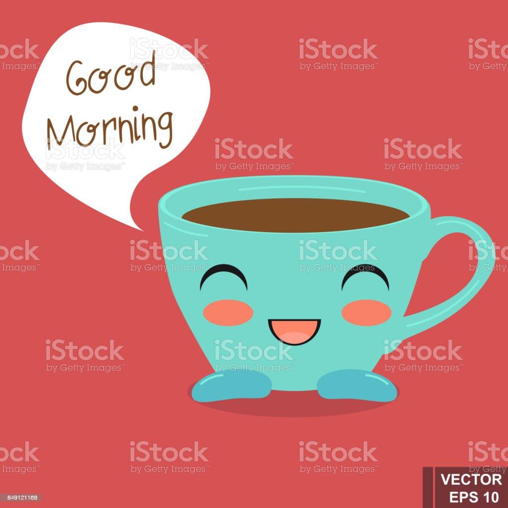 Lustige Tasse Kaffee Ziemlich Cartoon Guten Morgen Stock