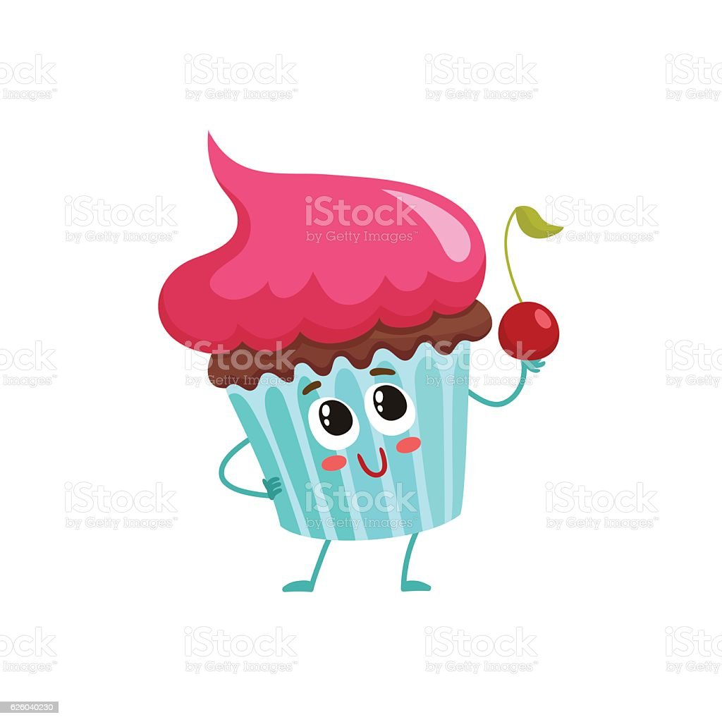 Funny cupcake character with pink cream topping vector art illustration