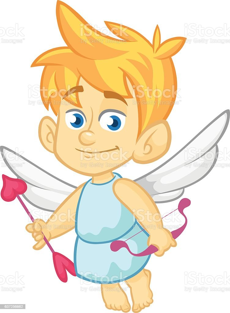 Funny Cupid Cartoon Character Vector Illustration For Valentines Day