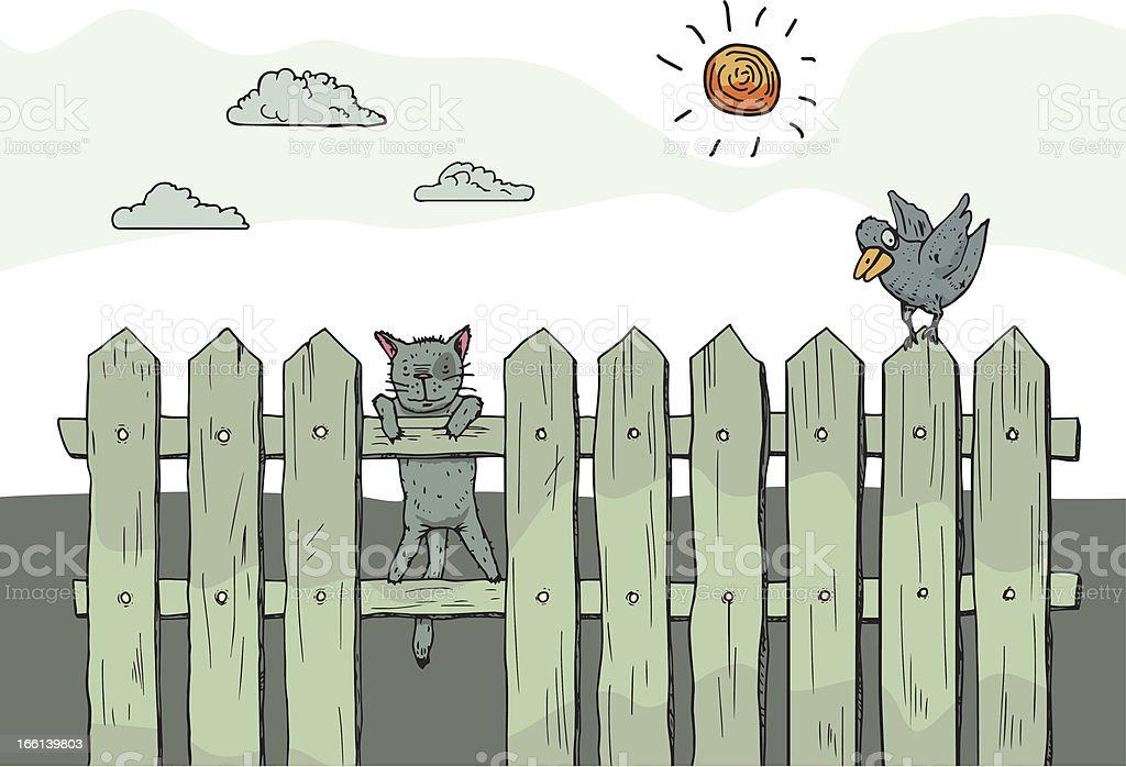Lustige Neugierig Katze Auf Zaun Vektor Illustration 166139803 Istock