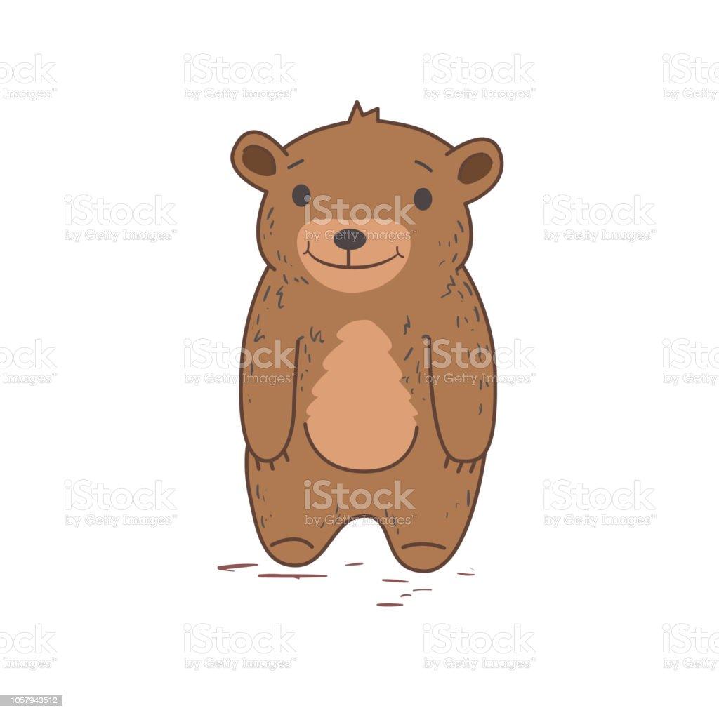 面白いかわいいクマの立っているを文字しますフラットのベクター