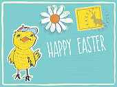funny biddy with cap smiling on blue retro easter postcard with stamp