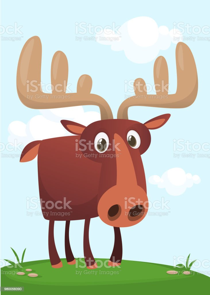 Funny cute cartoon moose character standing on the meadow background with a grass mushroom and flowers. Vector moose illustration isolated.