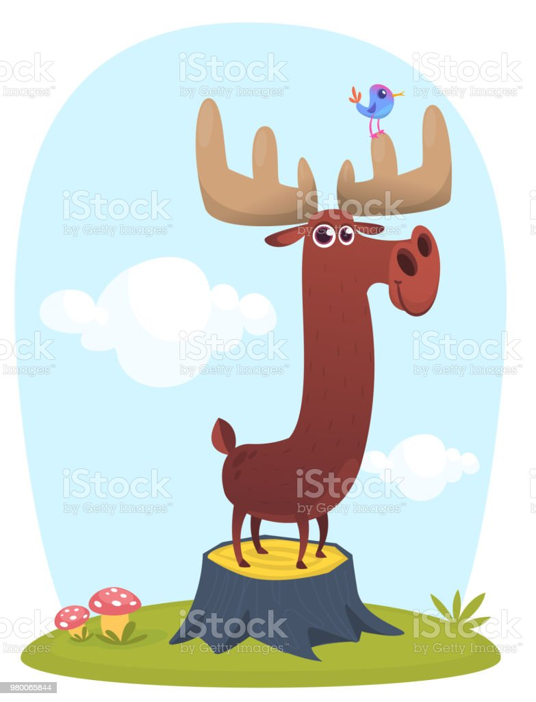 Funny Cute Cartoon Moose Character Standing On The Meadow Background With A Grass Mushroom And Flowers