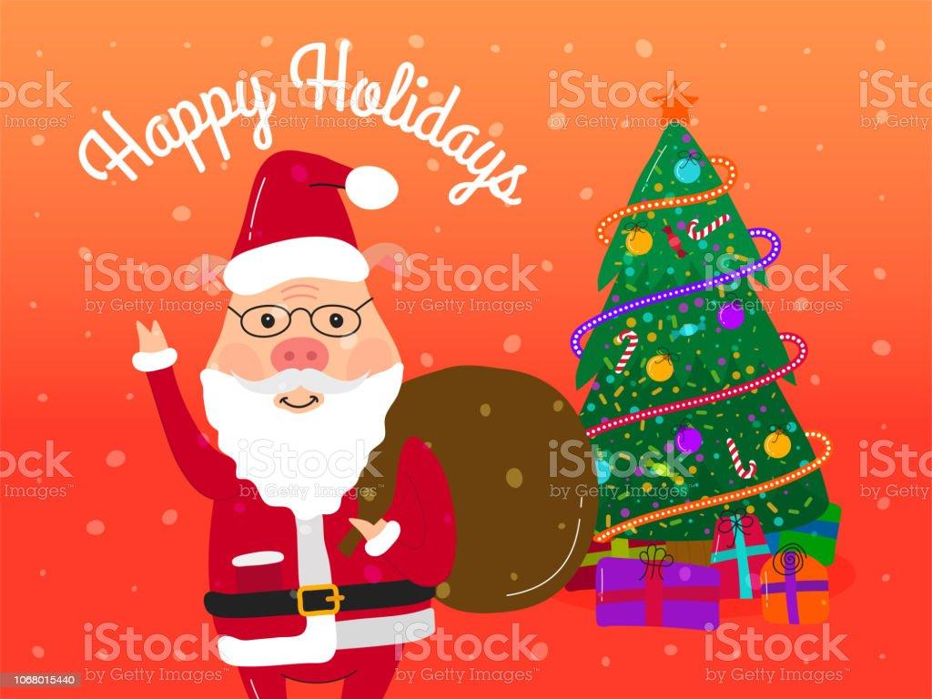 Comic Frohe Weihnachten.Lustige Niedlichen Cartoon Weihnachtsmann Schwein Grußkarten Frohe